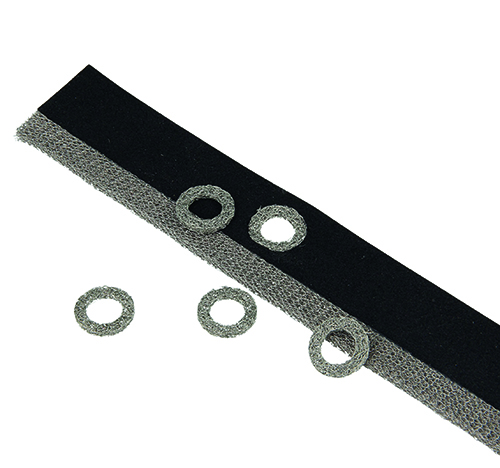 Knitted wire mesh gasket with waterseal, bold holes and washers. For more information about washers see below