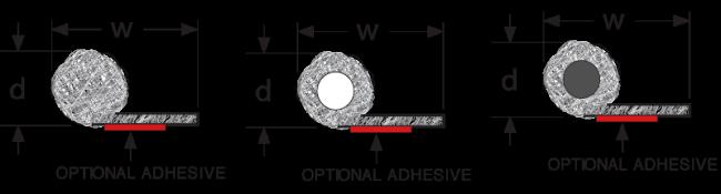 EMV Drahtgestrick Dichtungen rund mit schwanz technische Zeichnung