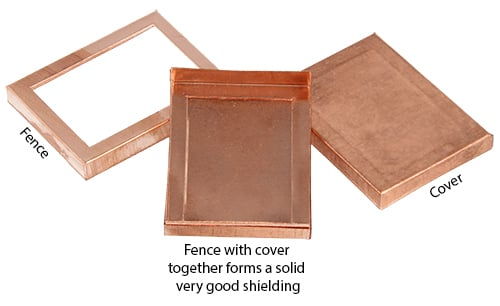 高性能PCBシールドは2つの部分で構成されています。フェンスとふたが一緒になって二重壁で非常に強いPCBシールドを提供します。