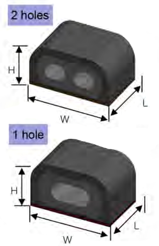 Conductive Rubber PCB  Shielding Gaskets is available in 1 of 2 holes version