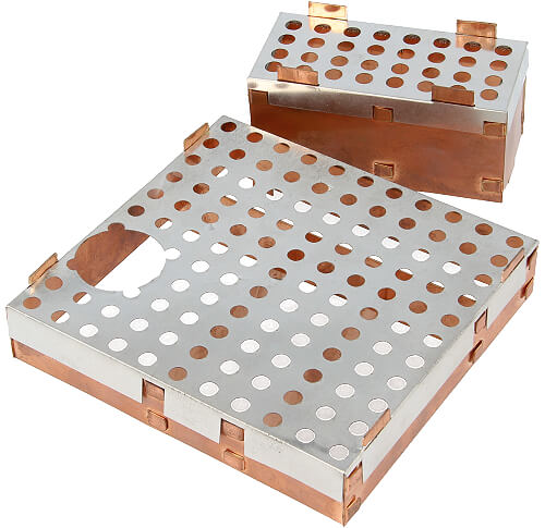 1600 series Fixed PCB shields with a lid with cooling holes and a cutout according customers drawing