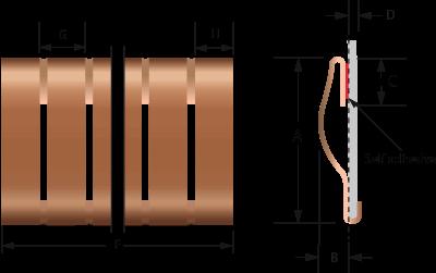 ベリリウム銅スナップオンフィンガーストリップ/フィンガーストローク2204-01および2204-02技術図面| EMI / RFIシールド用