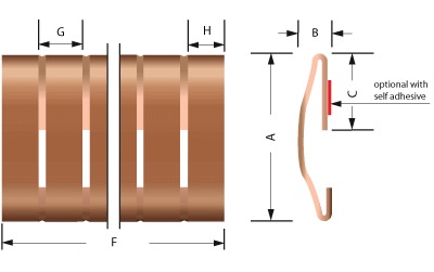 Beryllium copper Snap-on Fingerstrip/Fingerstrock 2204-01-02 and 2204-02-02 technical drawing | for EMI / RFI shielding