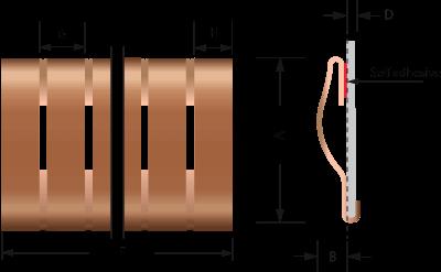 Beryllium-Kupfer-Snap-on Fingerstrip / Fingerstock 2205 technische Zeichnung | für EMV Abschirmung