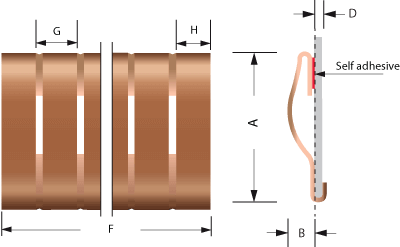 Beryllium copper Snap-on Fingerstrip / Fingerstrock 2205 Dibujo técnico | Para blindaje EMI / RFI