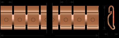 Beryllium-Kupfer Stick-on Fingerstock 2332-01 Technische Zeichnung Für EMV Abschirmung