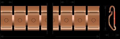Beryllium-Kupfer Stick-on Fingerstock 2332-02 Technische Zeichnung Für EMV Abschirmung