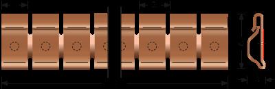 Beryllium-Kupfer Stick-on Fingerstock 2332-04 Technische Zeichnung Für EMV Abschirmung