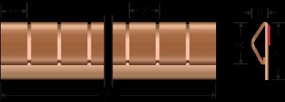 Beryllium-Kupfer Stick-on Fingerstock 2335-02 Technische Zeichnung Für EMV Abschirmung