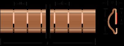 Beryllium-Kupfer Stick-on Fingerstock 2338 Technische Zeichnung Für EMV Abschirmung