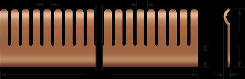 Rund EMV-Fingerstreifen 2601-01, 2601-03, 2601-04, 2601-05, 2601-07, 2601-08 Technische Zeichnung, für den elektrischen Kontakt und EMV-Abschirmung