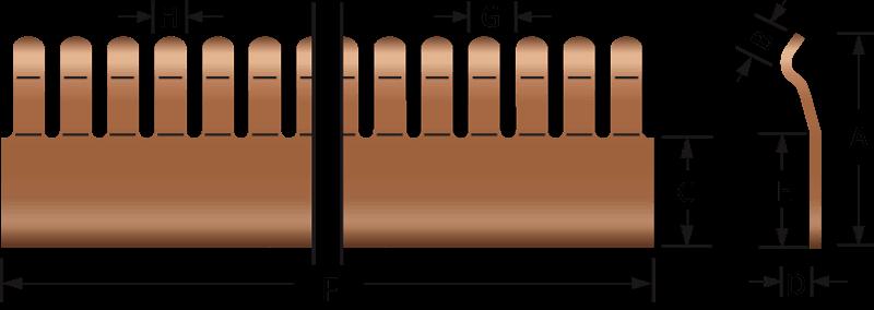 Rund EMV-Fingerstreifen 2602-01 till 2602-04 Technische Zeichnung, für den elektrischen Kontakt und EMV-Abschirmung