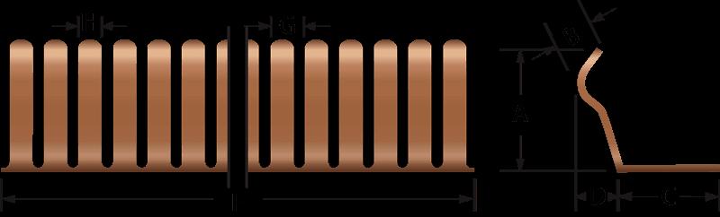 Rund EMV-Fingerstreifen 2603-02 Technische Zeichnung, für den elektrischen Kontakt und EMV-Abschirmung