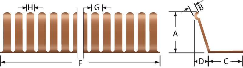 Rund EMV-Fingerstreifen 2603-03 and 2603-04 Technische Zeichnung, für den elektrischen Kontakt und EMV-Abschirmung
