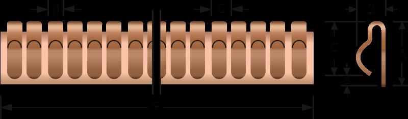 Rund EMV-Fingerstreifen 2604-01 Technische Zeichnung, für den elektrischen Kontakt und EMV-Abschirmung