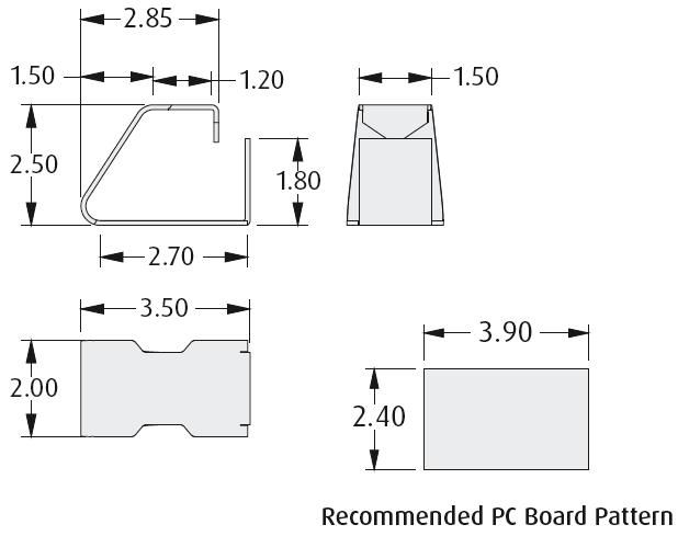 2901-03 PCB foråret kontakt teknisk tegning