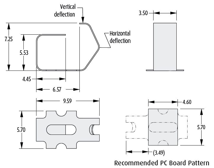 2901-16 series PCB spring Contact technical drawing