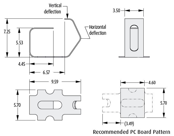 2901-17 Dibujo técnico del contacto del resorte de la PCB
