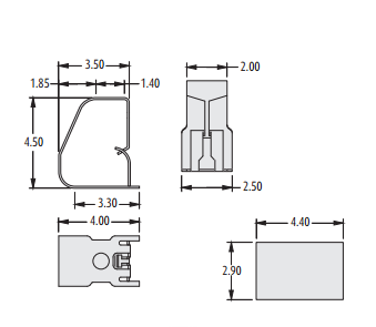 2901-11 series PCB spring Contact technical drawing