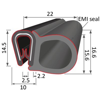 Big side clip-on gasket technical drawing