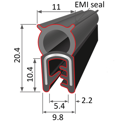 Big clip-on gasket technical drawing