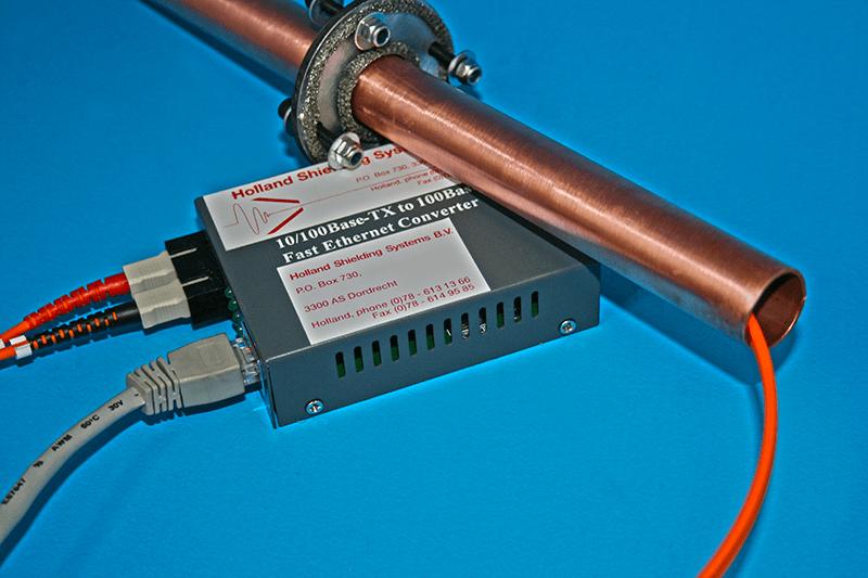 Fiber-optic ethernet converter set for EMI-shielded rooms/Faraday cages