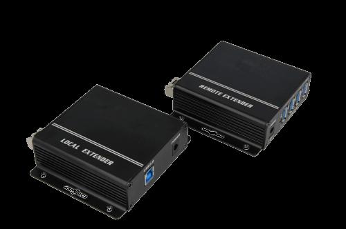 De 7896 USB 3.0 converter zet het usb 3.0 signaal om naar een licht signaal en passeert het signaal door een golfgeleider in de afgeschermde kamer.