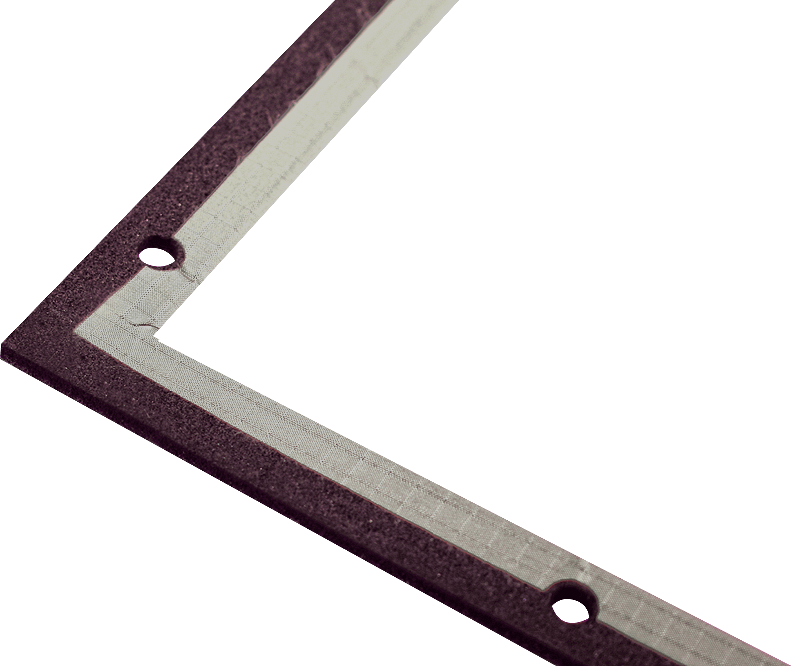 Example image of a 8000 series Endless gasket with the waterseal on the ouside of the gasket and holes for mounting