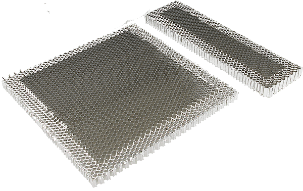 Frameless EMI shielding ventilation panels can be made with compressed sides