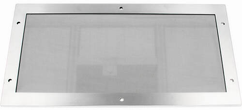 Example image of a 9700 series EMI/RFI shielded polycarbonate window, 3 mm thick, with aluminum frame