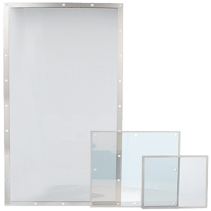 The large window on the left is a 9700 series mesh foil window. The two smaller windows on the right are 9910 series Transparent foil shielding windows. As can be seen, the transparency is at 9910 series Transparent shielding foil windows higher.
