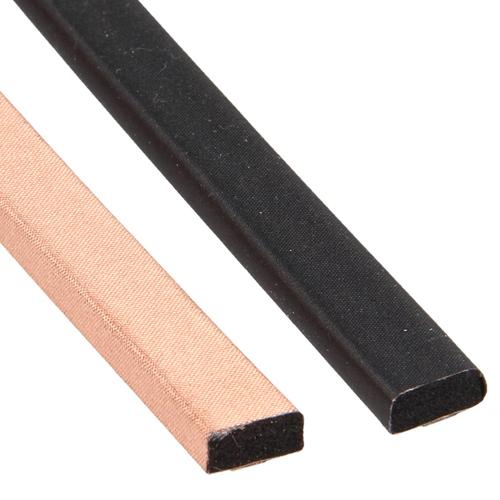 EMI shielding gaskets with a copper conductive fabric (copper colour) or a copper nickel conductive fabric (black)