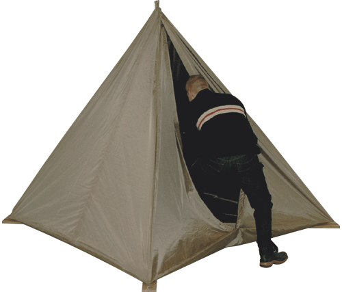 Example image of a pyramid shaped Faraday tent with a single rope to hang to the ceiling