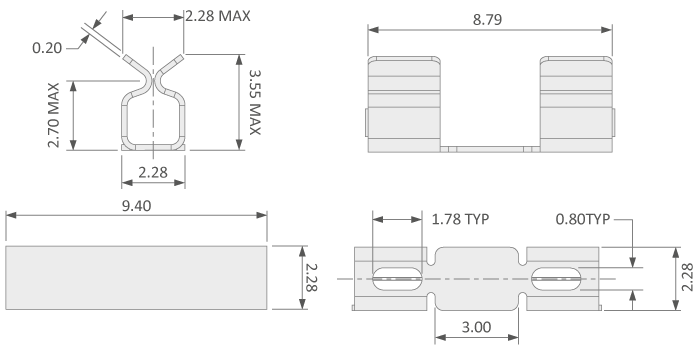 Large clip for mounting PCB shielding cans technical drawing