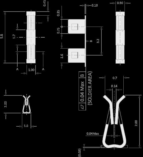 Clip medio para el montaje de latas de blindaje de PCB