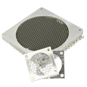 Aluminium honeycomb fan shield with threaded holes