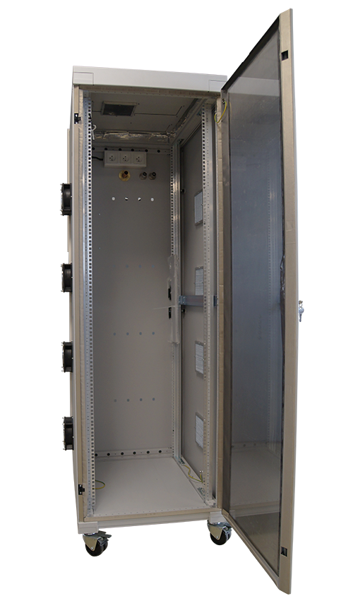 Full size shielded rack open front view