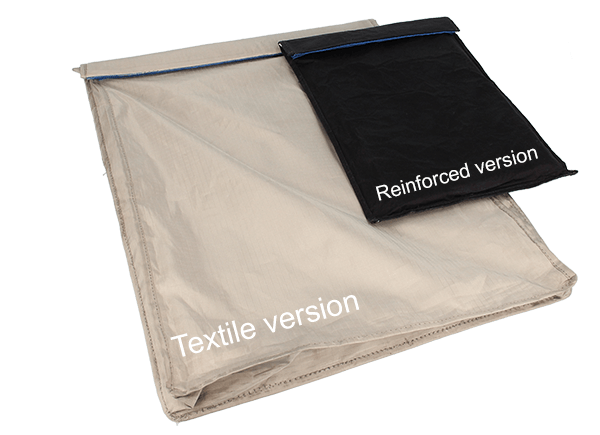 The Shielding pouch comes in two versions, a textile and a reinforced version