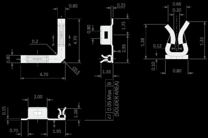 RF shielding clip | Tiny corner clip for PCB shielding cans
