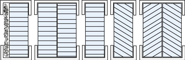 Figure 80.1 : From left to right, Honeycomb with dustfilter, cross cell, single cell straight, single cell slant 45 degrees, dubble slant to prevent eavesdropping