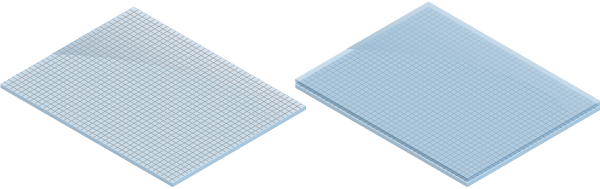 Figure 72.1 : Example of a single mesh foil window (mesh bonded on the top of a window) and a stepped mesh foil window (mesh between two layers of glass or plastic).