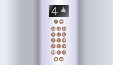 Anti microbial copper elevator inside buttons symbols