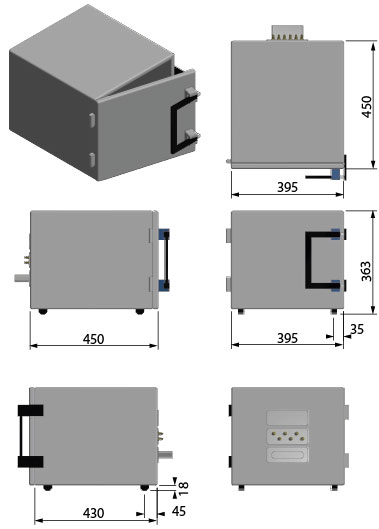 Compact desktop measurement box technical drawing