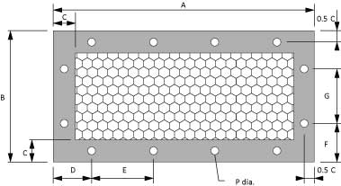 honeycomb ventilation panels dimenional drawing