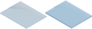 Figure 72.1 : Example of a single mesh foil window (mesh bonded on the top of a window) and a stepped mesh foil window (mesh between two layers of glass or plastic)